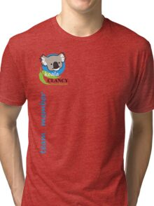 Koala Clancy Foundation Team Member small logo blue Tri-blend T-Shirt