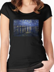 'Starry Night Over The Rhone' by Vincent Van Gogh (Reproduction) Women's Fitted Scoop T-Shirt