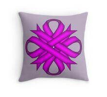 Purple Clover Ribbon Throw Pillow