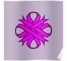 Purple Clover Ribbon Poster