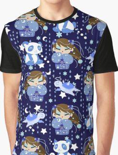 Panda Kokeshi Blue Pattern Graphic T-Shirt