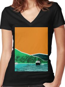 Greece Women's Fitted V-Neck T-Shirt