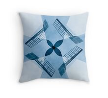 Windmill Quad Blue Throw Pillow