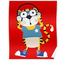 Cartoon Animals Tiger Rocking to the Music Poster