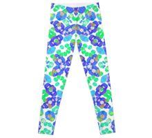 Stylized Floral Check Seamless Pattern Leggings