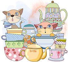 Cartoon Animals Kittens Tea Time Photographic Print