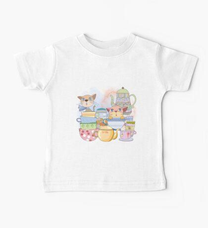 Cartoon Animals Kittens Tea Time Baby Tee