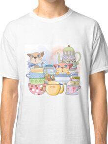 Cartoon Animals Kittens Tea Time Classic T-Shirt