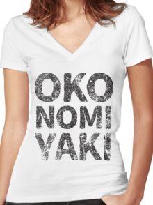 Japanese Savoury Pancake (Okonomiyaki) Japanese English - Black Women's Fitted V-Neck T-Shirt