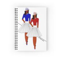 Red & Blue Hat Lady Illustration Spiral Notebook