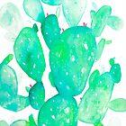 Green Watercolour Cactus by Jenna Mhairi