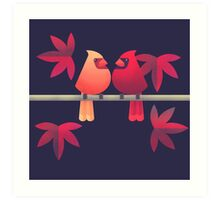 Northern cardinals on a Japanese maple tree Art Print