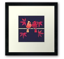 Northern cardinals on a Japanese maple tree Framed Print