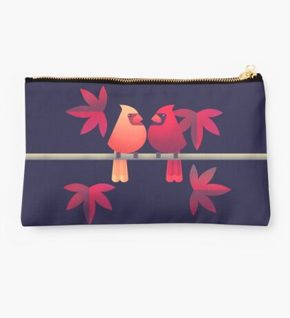 Northern cardinals on a Japanese maple tree Studio Pouch