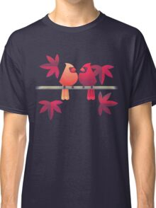 Northern cardinals on a Japanese maple tree Classic T-Shirt