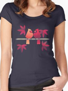Northern cardinals on a Japanese maple tree Women's Fitted Scoop T-Shirt