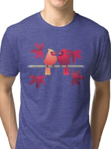 Northern cardinals on a Japanese maple tree Tri-blend T-Shirt