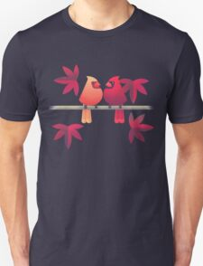Northern cardinals on a Japanese maple tree Unisex T-Shirt