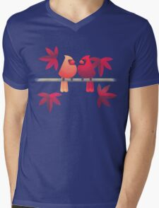 Northern cardinals on a Japanese maple tree Mens V-Neck T-Shirt