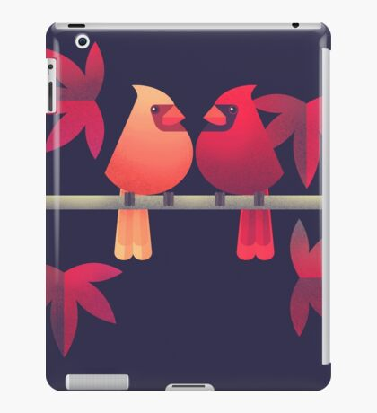 Northern cardinals on a Japanese maple tree iPad Case/Skin