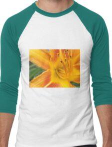 Orange Lily Macro Men's Baseball ¾ T-Shirt