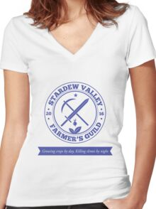 Stardew Valley Farmer's Guild Crest Redux Women's Fitted V-Neck T-Shirt