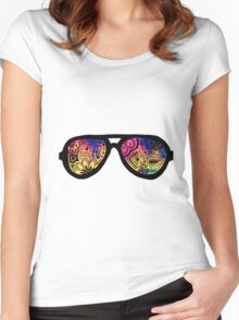 Galaxy Watercolor Zentangle Sunglasses Women's Fitted Scoop T-Shirt