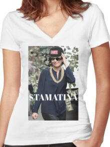 $TAMATINA Women's Fitted V-Neck T-Shirt