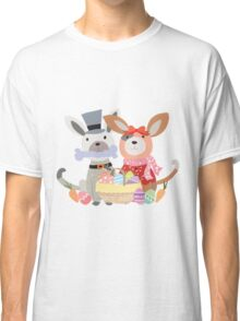 Cartoon Animals Easter Puppy Dog Bunnies Classic T-Shirt