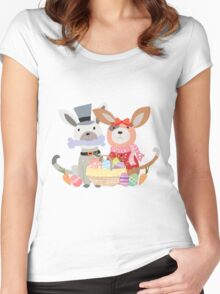 Cartoon Animals Easter Puppy Dog Bunnies Women's Fitted Scoop T-Shirt