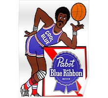 Pabst Blue Ribbon - Cool Blue Basketball Player Poster