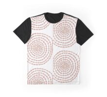 Pink & Brown Spiral Squiggles Graphic T-Shirt