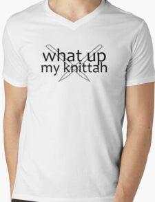What Up, My Knitta? Mens V-Neck T-Shirt