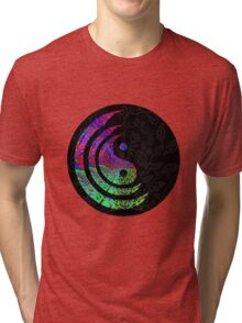 Yin Yang Hippie Balance Logo Round Psychedelic Colorful 70s Hip Tri-blend T-Shirt