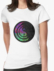 Yin Yang Hippie Balance Logo Round Psychedelic Colorful 70s Hip Womens Fitted T-Shirt