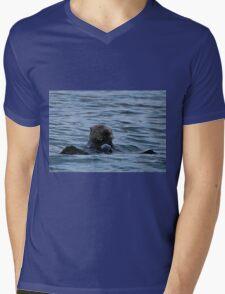 Lunch-time Sea Otter Mens V-Neck T-Shirt