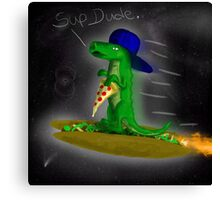 Supergator flying through space on a taco! Canvas Print