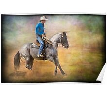 The Cowboy on a Grey Horse Poster