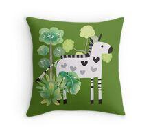 Animals Cartoon Zebra in Jungle Throw Pillow