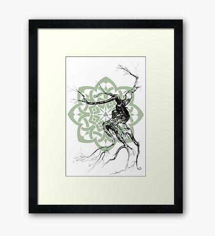 Celtic world tree ink drawing Framed Print