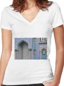Colorful mosaic facade from mosque. Women's Fitted V-Neck T-Shirt