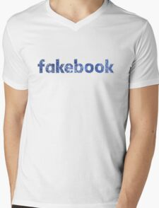 Fakebook Vintage Logo Mens V-Neck T-Shirt