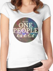 We Are One People, Unite The Earth  Women's Fitted Scoop T-Shirt