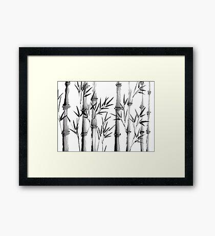 Black and white bamboo forest Framed Print