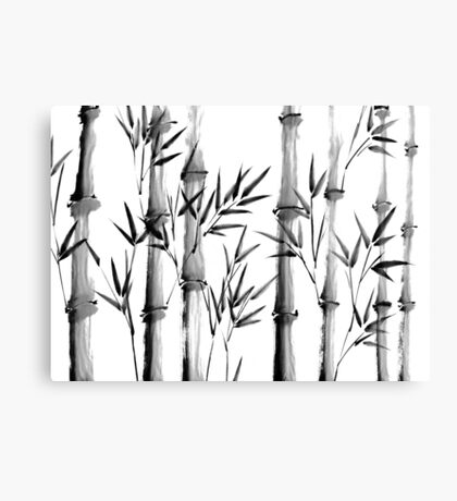 Black and white bamboo forest Canvas Print