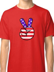 USA Peace Hand Sign Classic T-Shirt