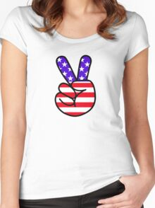 USA Peace Hand Sign Women's Fitted Scoop T-Shirt