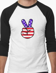 USA Peace Hand Sign Men's Baseball ¾ T-Shirt