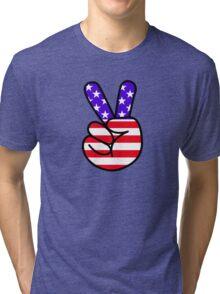 USA Peace Hand Sign Tri-blend T-Shirt