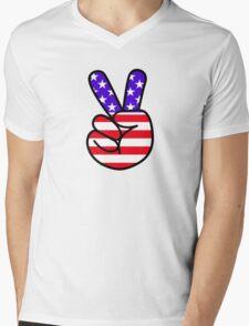 USA Peace Hand Sign Mens V-Neck T-Shirt